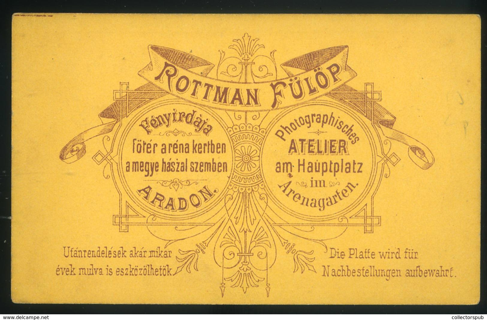 ARAD 1865-70. Rottman Fülöp: Ismeretlen Lány, Szép Visit Fotó, Verso : ROTTMAN FÜLÖP  Fényirdája,  Fötér Arena Kertben,  - Andere