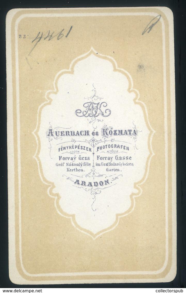 ARAD 1860-? Auerbach és Kozmata: Ismeretlen Hölgy, Nagyon Ritka,  Visit Fotó - Foto's