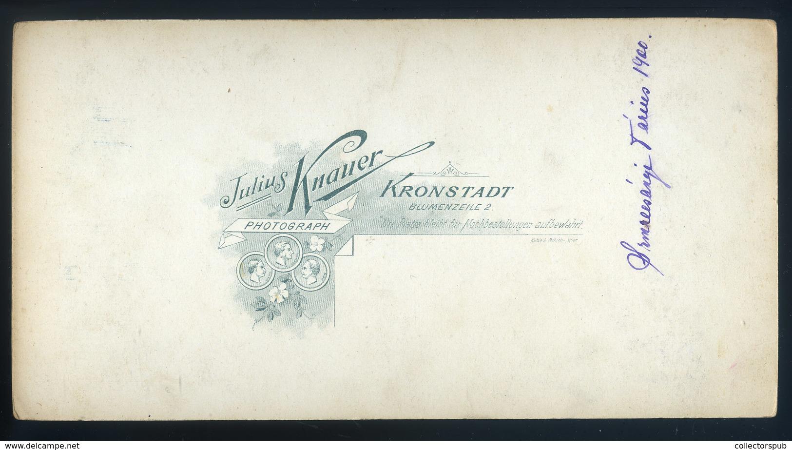 BRASSÓ 1900. Ca. Knauer Julius : Katona Portré, Szép Cabinet Fotó , Szmrecsányi Dárius - Foto's