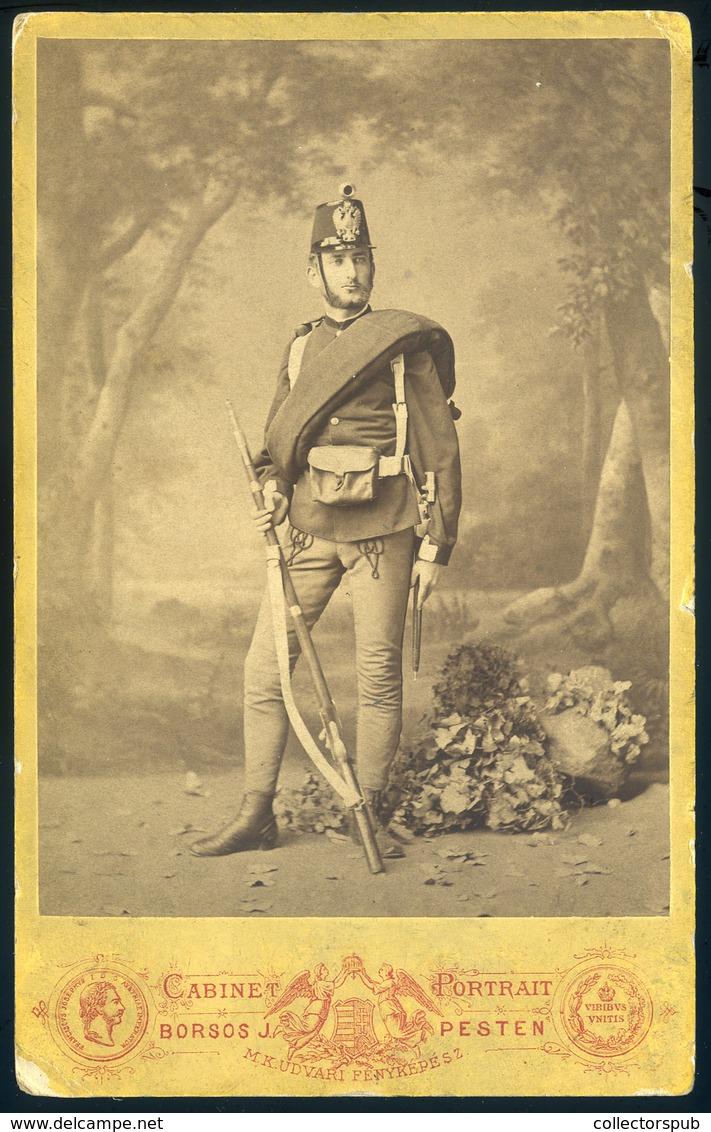 """PEST 1865-70. Ca. Katona Portré , Szép Cabinet Fotó """"Keller Bácsi"""" - Foto's"""