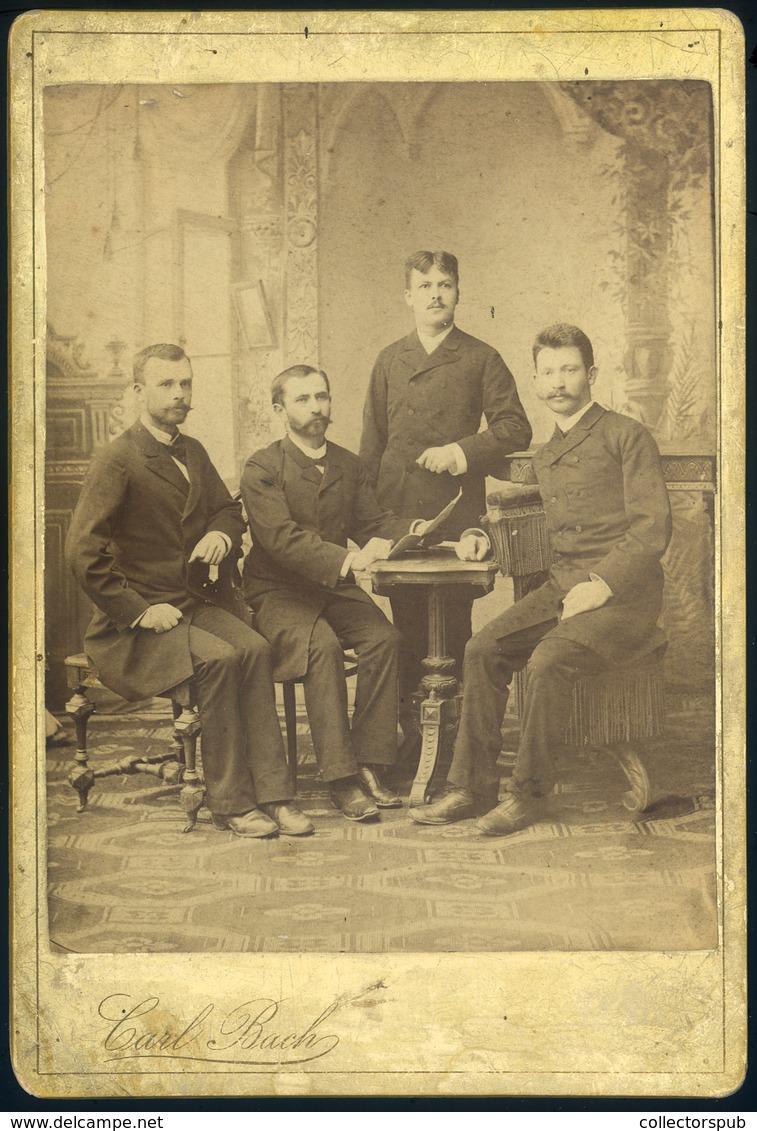 GYULAFEHÉRVÁR 1890. Bach Károly : Férfiak, Cabinet Fotó - Foto's