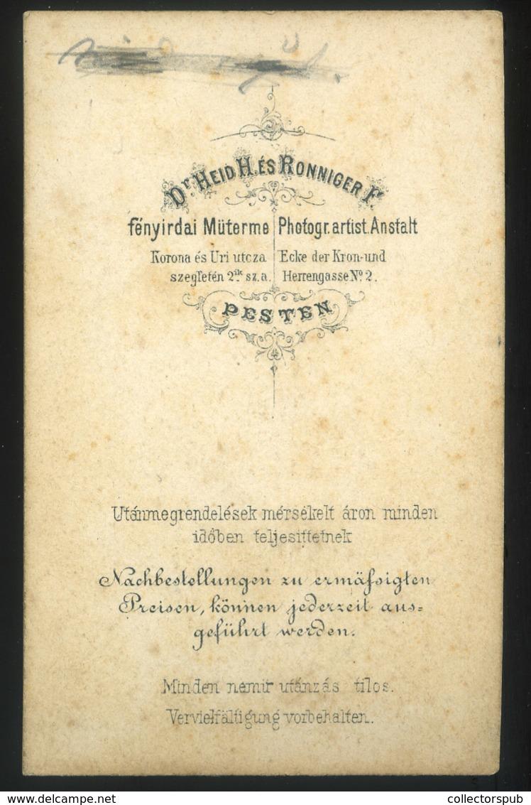 PEST 1866-70. Dr. Heid és Ronninger : Ismeretlen Hölgy Visit Fotó - Foto's