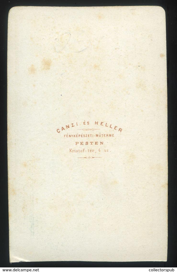 PEST 1860-65. Canzi és Heller : Ismeretlen Hölgy,  Visit Fotó - Foto's