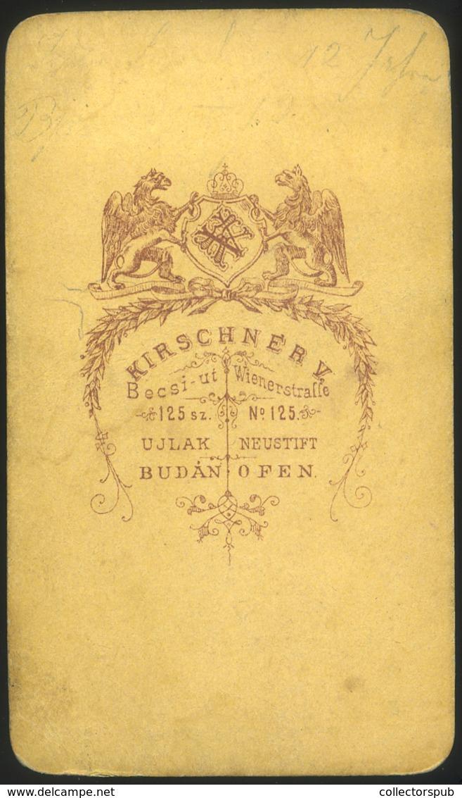 BUDA 1870. Cca.Kirschner V. : Ismeretlen Hölgy,  Visit Fotó - Foto's
