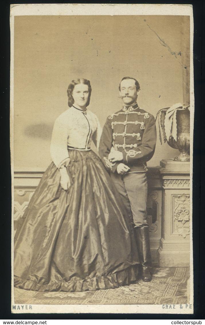 PEST 1860. Cca. Mayer G. Ismeretlen Pár, Visit Fotó - Foto's