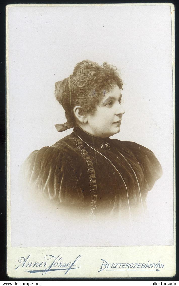 BESZTERCEBÁNYA 1890. Cca. Anner József : Ismeretlen Hölgy, Visit Fotó - Foto's