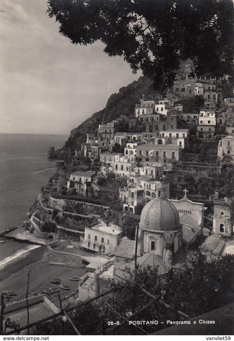 POSITANO-SALERNO-PANORAMA E CHIESA-CARTOLINA VIAGGIATA IL 22-7-1955 - Salerno