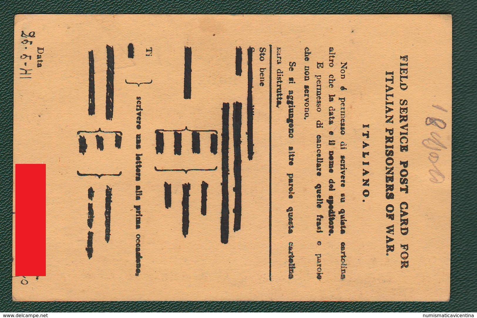 POW Prisoners Of War Prigionieri Di Guerra Prisonniers De Guerre From INDIA To Vicenza 1941 Post Card - Documents