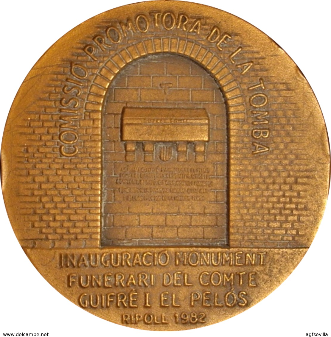 ESPAÑA. MEDALLA DE LA INAUGURACIÓN DE LA TUMBA DE WIFREDO EL VELLOSO. 1.982. CON ESTUCHE. SPAIN MEDAL WITH BOX - Professionals/Firms
