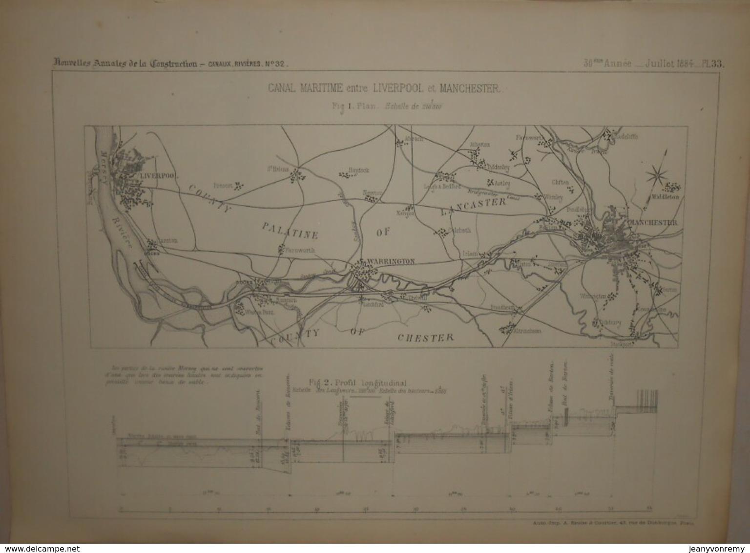 Plan Du Canal Maritime Entre Liverpool Et Manchester. 1884. - Public Works