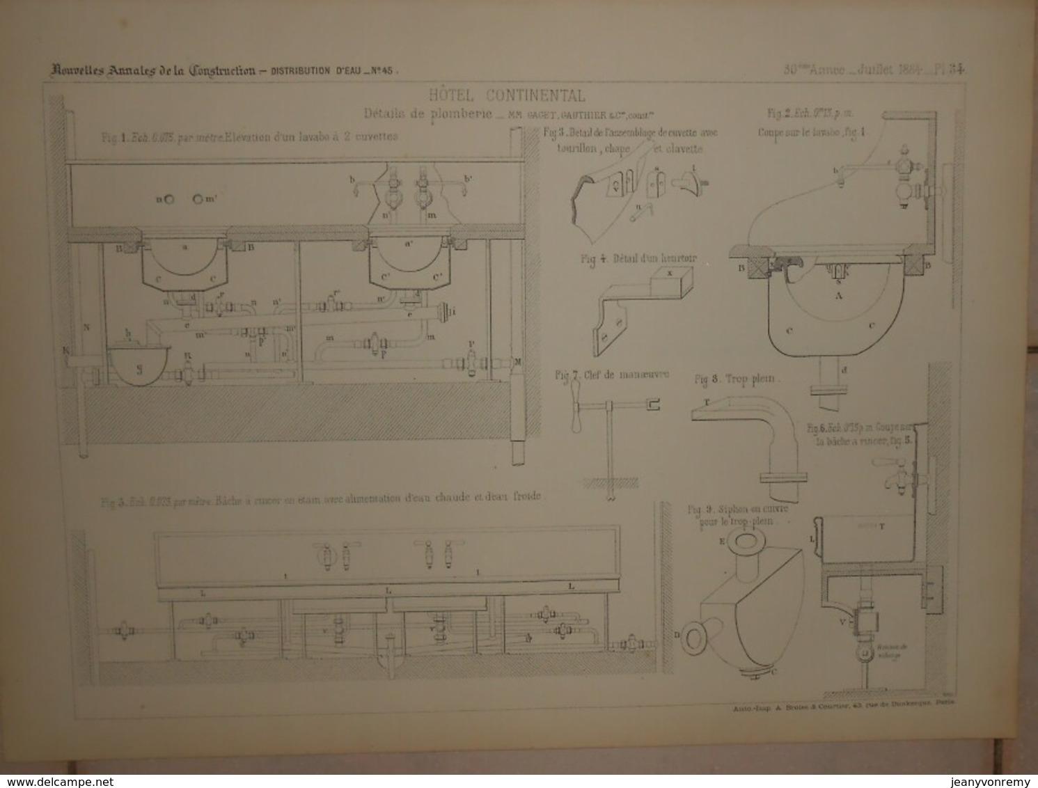 Plan  De L'Hôtel Continental à Paris. Détails De Plomberie. MM. Gaget Et Gauthier, Constructeurs. 1884. - Technical Plans