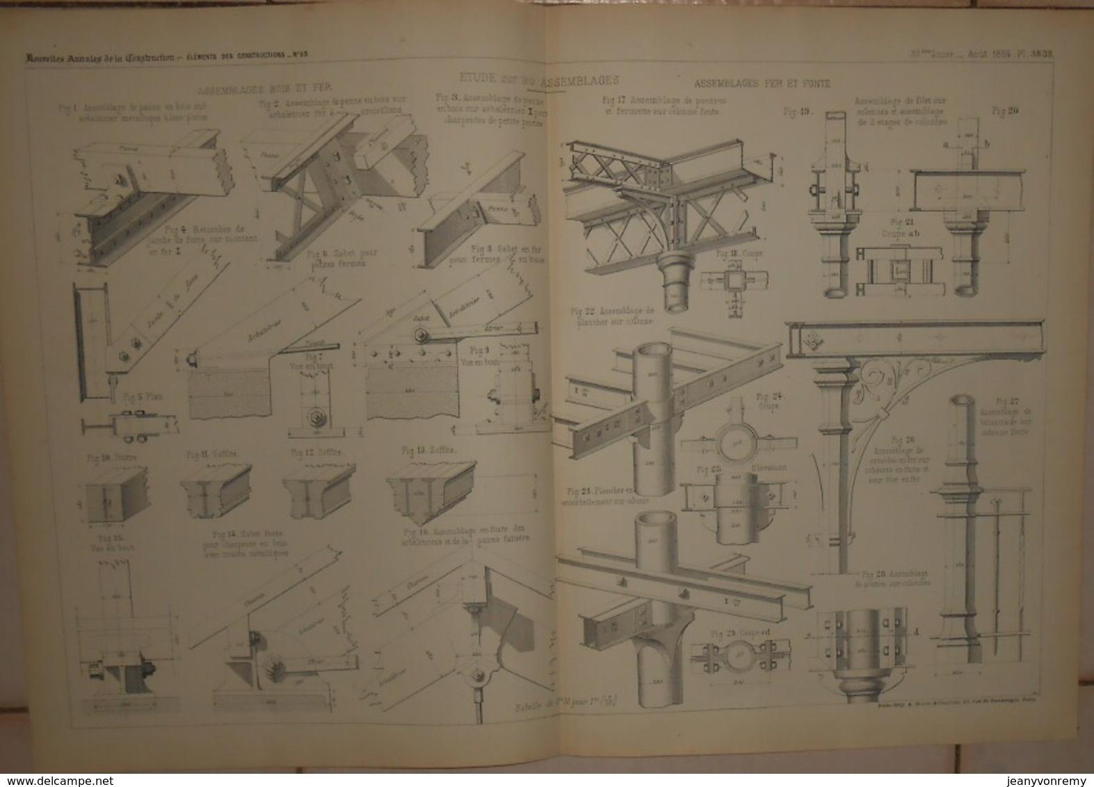 Plan D'une étude Sur Les Assemblages De Bois Et De Fer Et De Fer Et Fonte. 1884. - Public Works