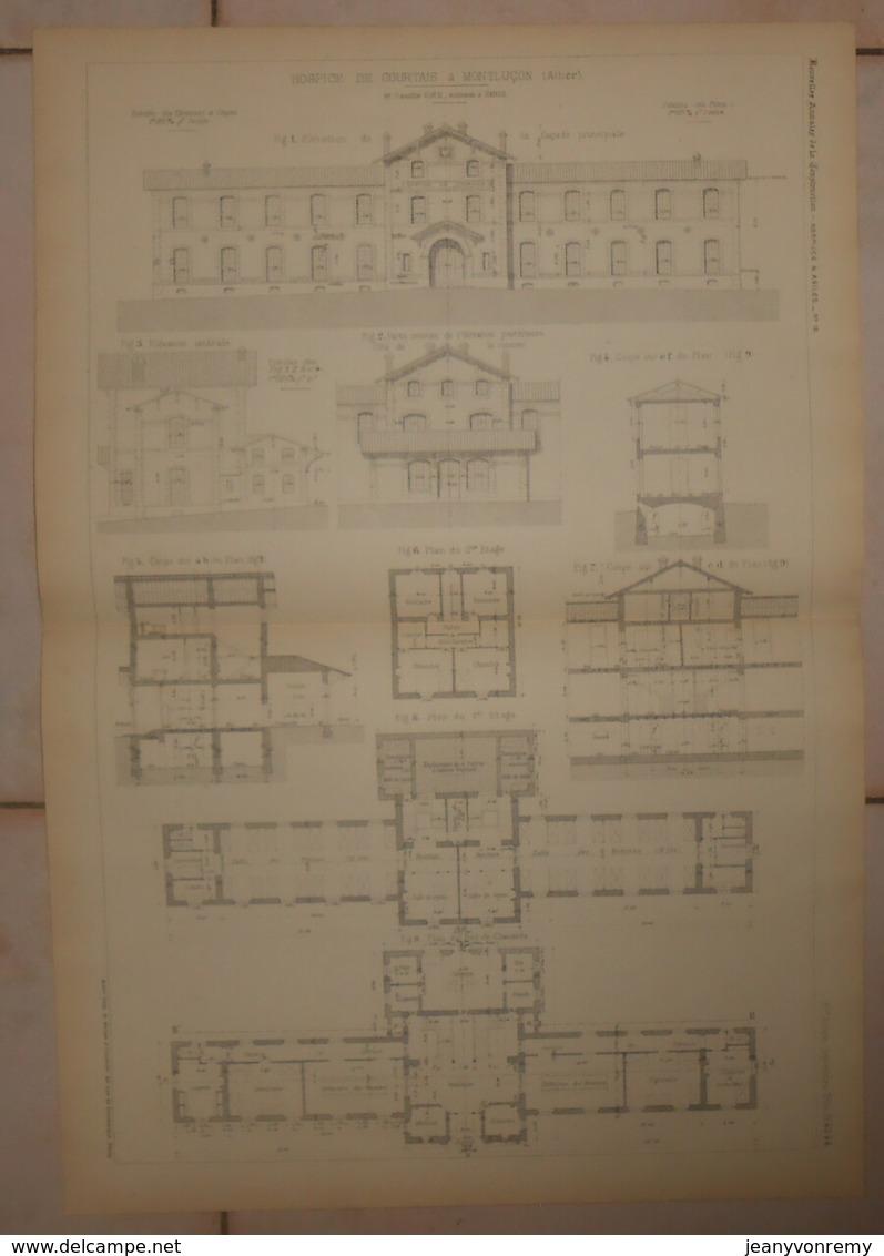Plan De L'Hospice De Courtais à Montluçon. Allier. M. Camille Viée, Architecte à Paris. 1884. - Public Works