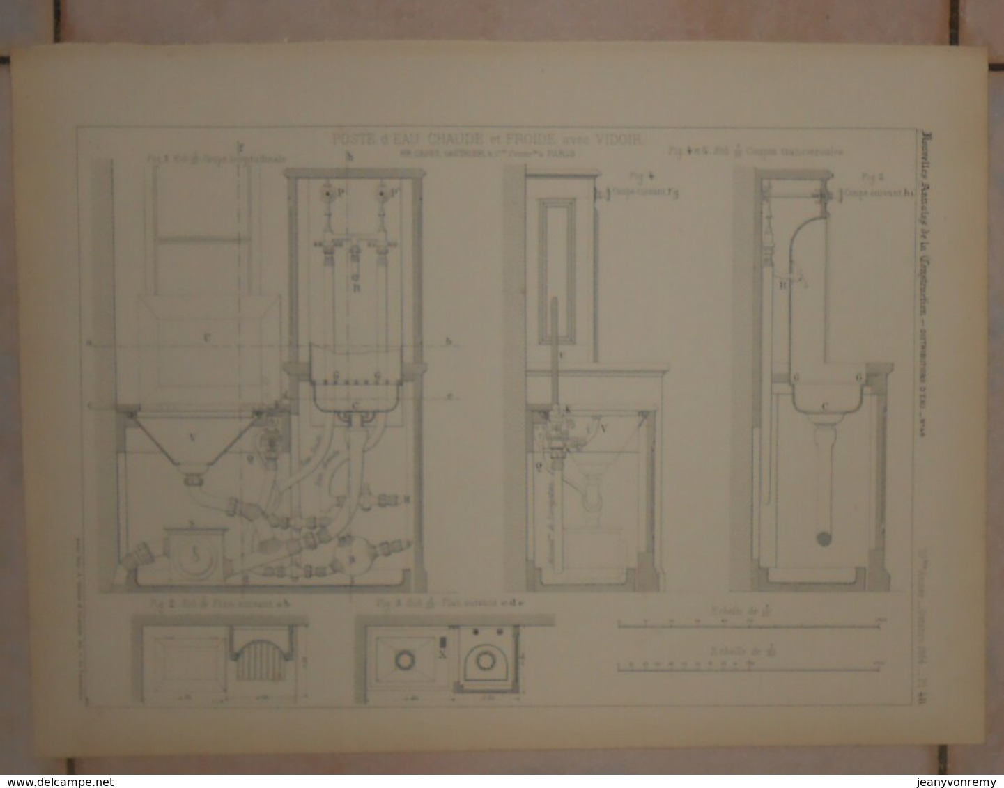 Plan D'un Poste D'eau Chaude Et Froide Avec Vidoir. MM. Gaget, Gauthier Et Cie à Paris.1884. - Public Works