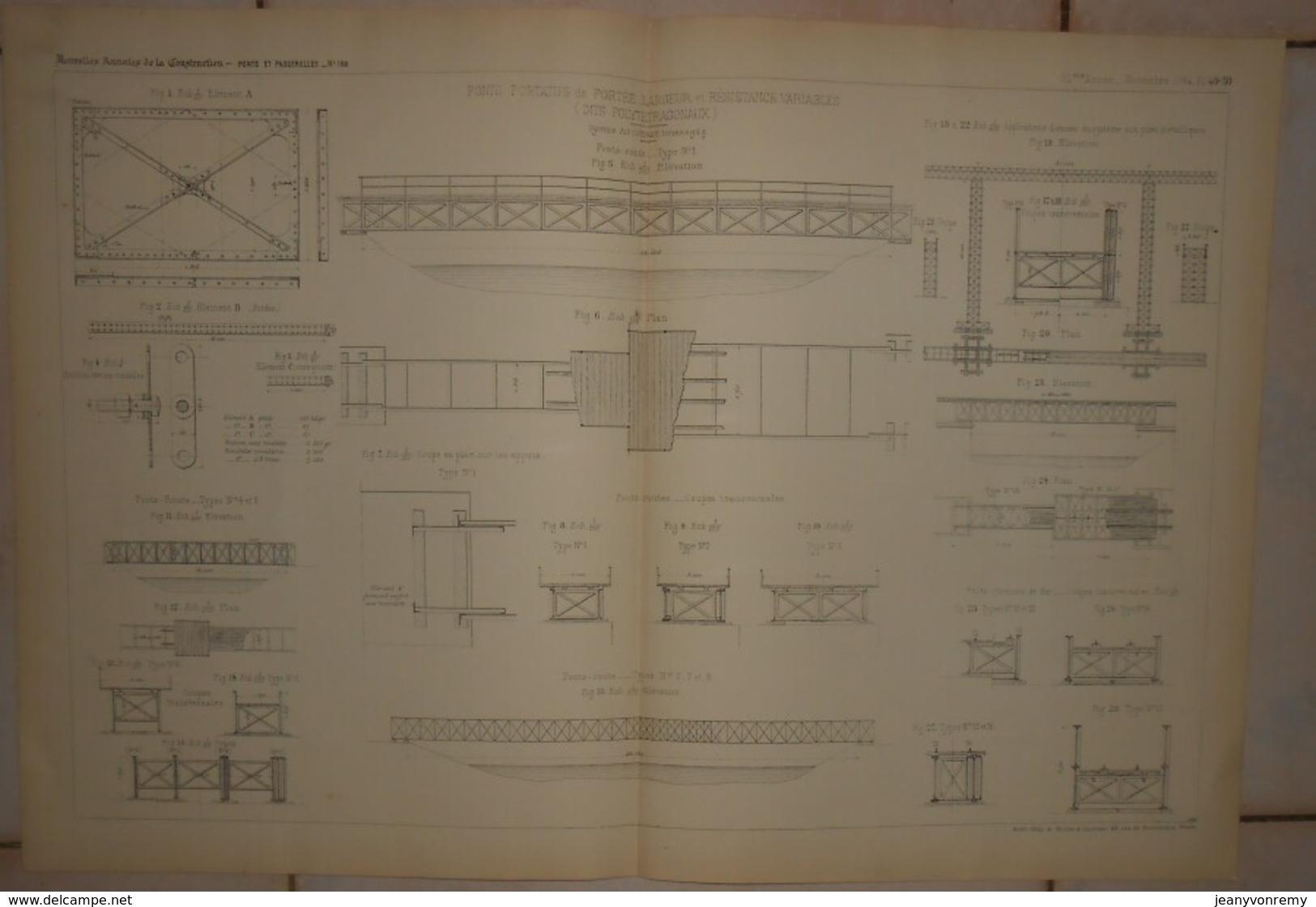 Plans De Ponts Portatifs De Portée Largeur Et Résistance Variables Dits Polytétragonaux. Système Alf. Cottrau. 1884. - Public Works