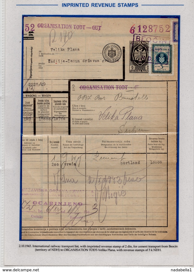 1943 WW2, CROATIA,SERBIA,GERMANY, RAILWAY BILL FOR CEMENT TRANSPORT FROM BEOCIN TO GERMAN TODT ORGANISATION,VELIKA PLANA - Invoices & Commercial Documents