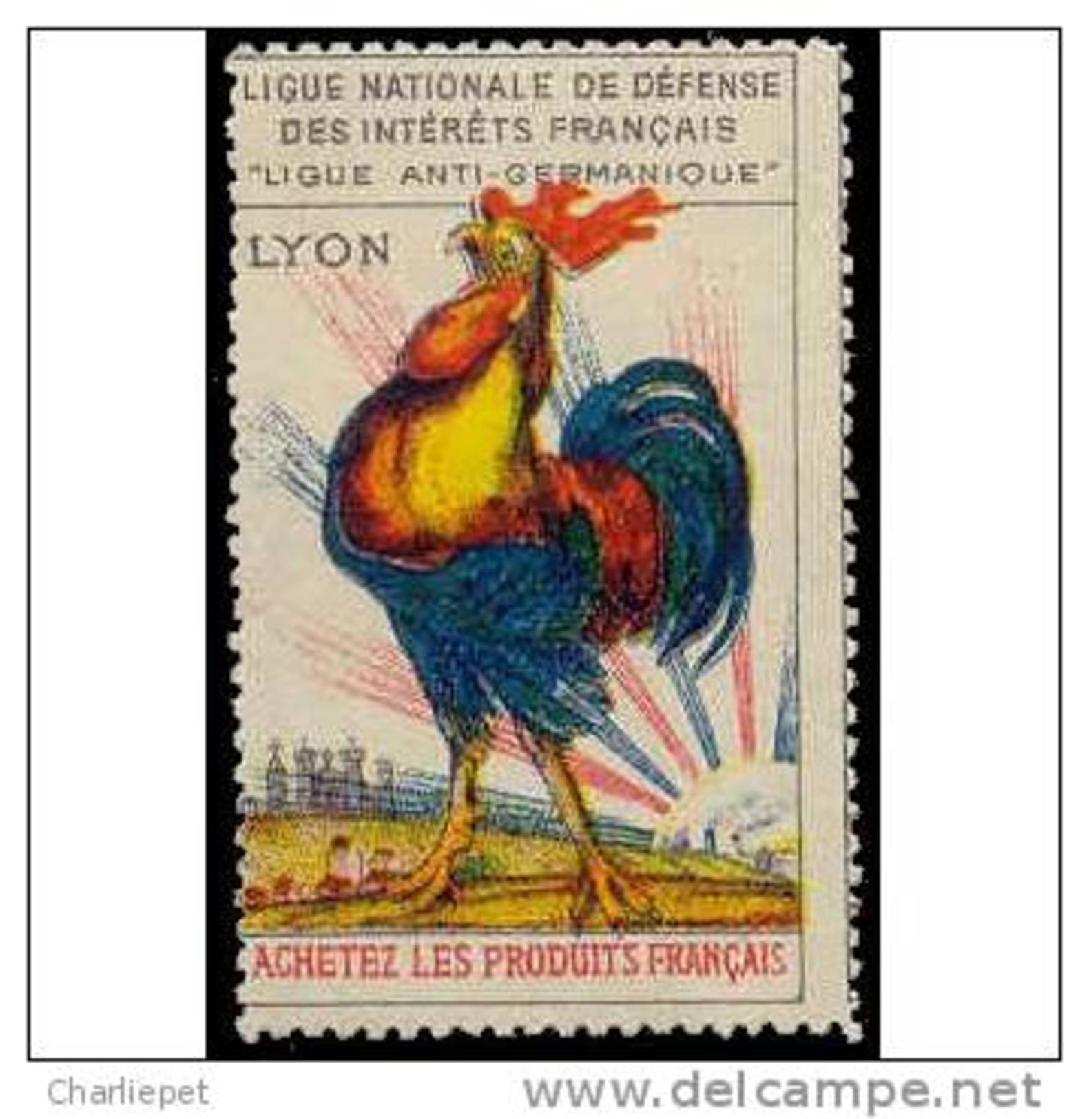 France WWI Women's Crusade Vignette Lyon Rooster Cinderella Poster Stamp - Unclassified
