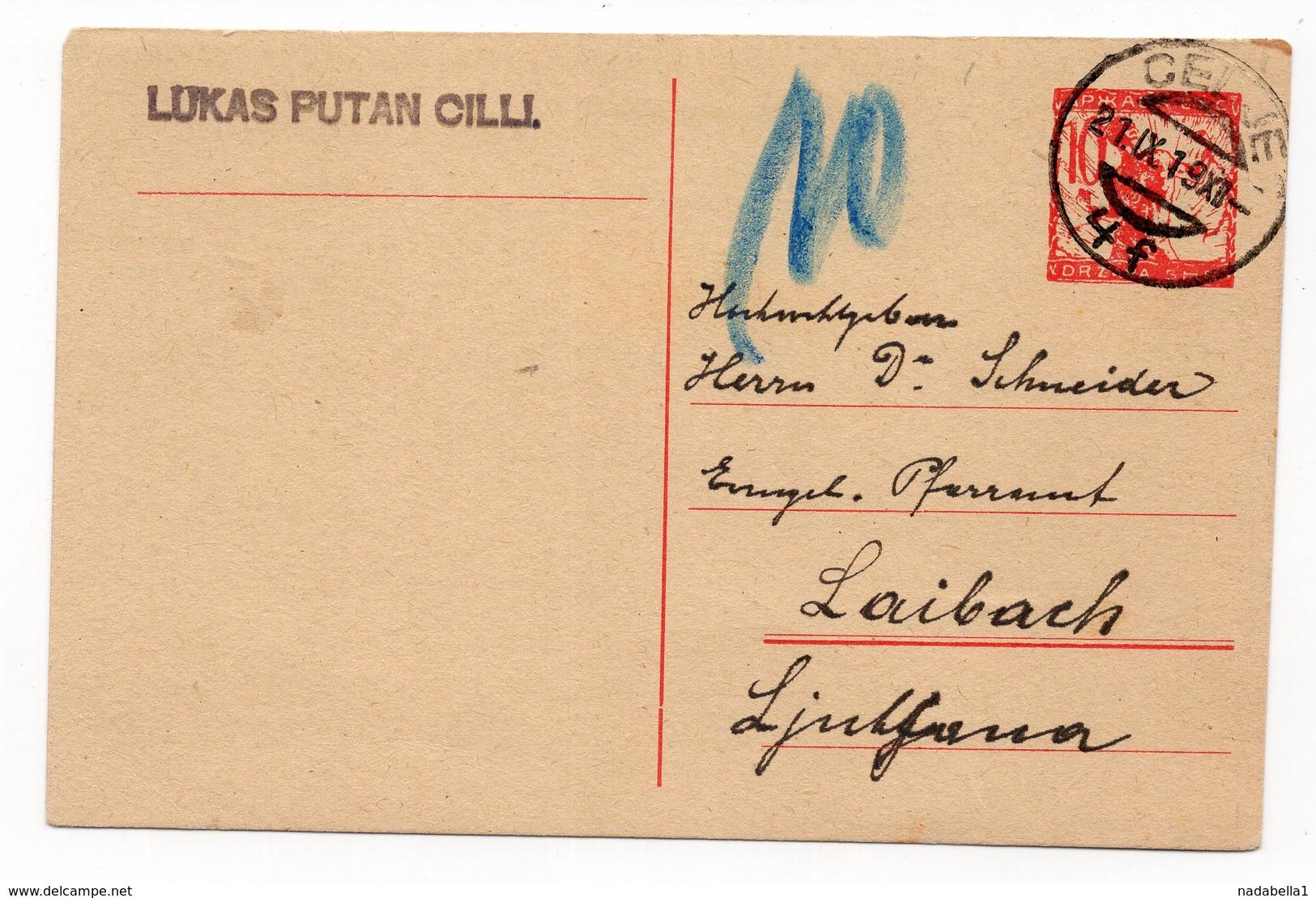 1919 KINGDOM OF SHS, SLOVENIA, CELJE TO LJUBLJANA, LAIBAH, POSTAL STATIONERY, USED - Postal Stationery