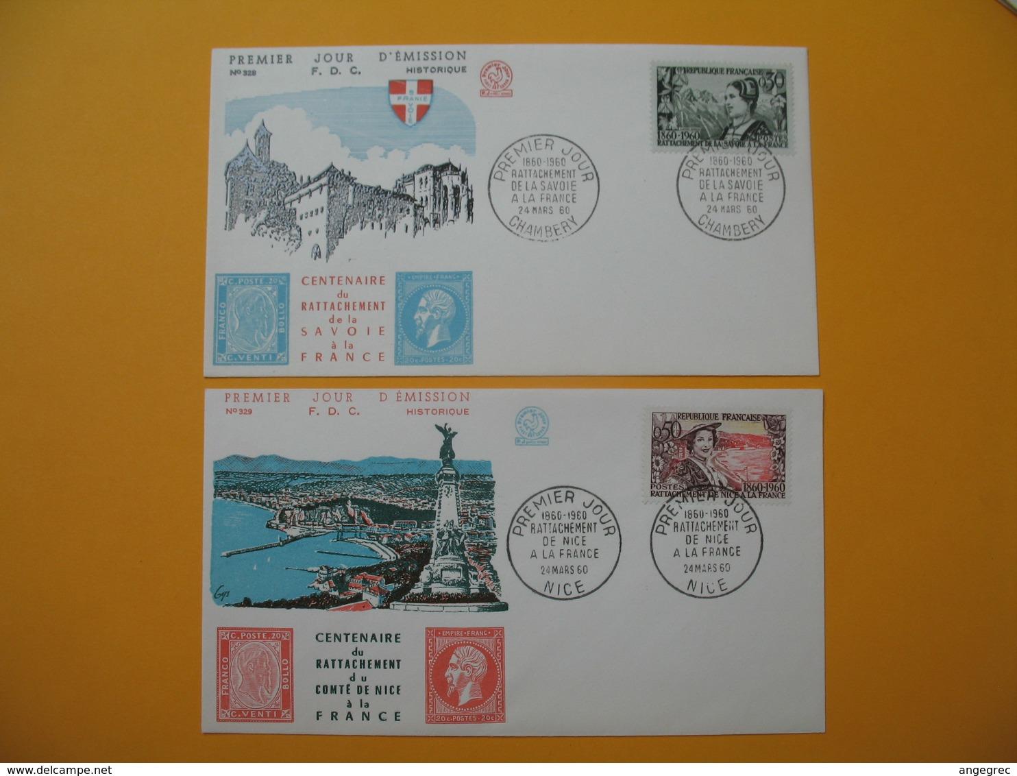 FDC 1960  France  N° 1246 & 1247  Centenaire Du Rattachement Du Comté De Nice à La France - 1960-1969