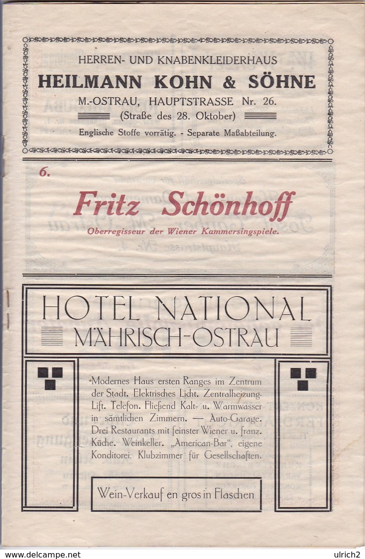 Programm National Kabaret Mährisch-Ostrau - Fischer Wagner Schönhoff - Wiener Kammer-Singspiele Galathee - 1919 (41561) - Theater & Scripts