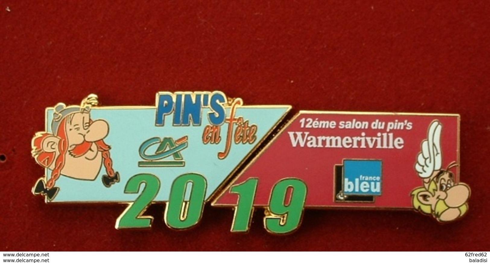 PUZZLE DE 2 PIN'S : 12éme SALON DU PIN'S WARMERIVILLE 2019 - ASTERIX & OBELIX - BD