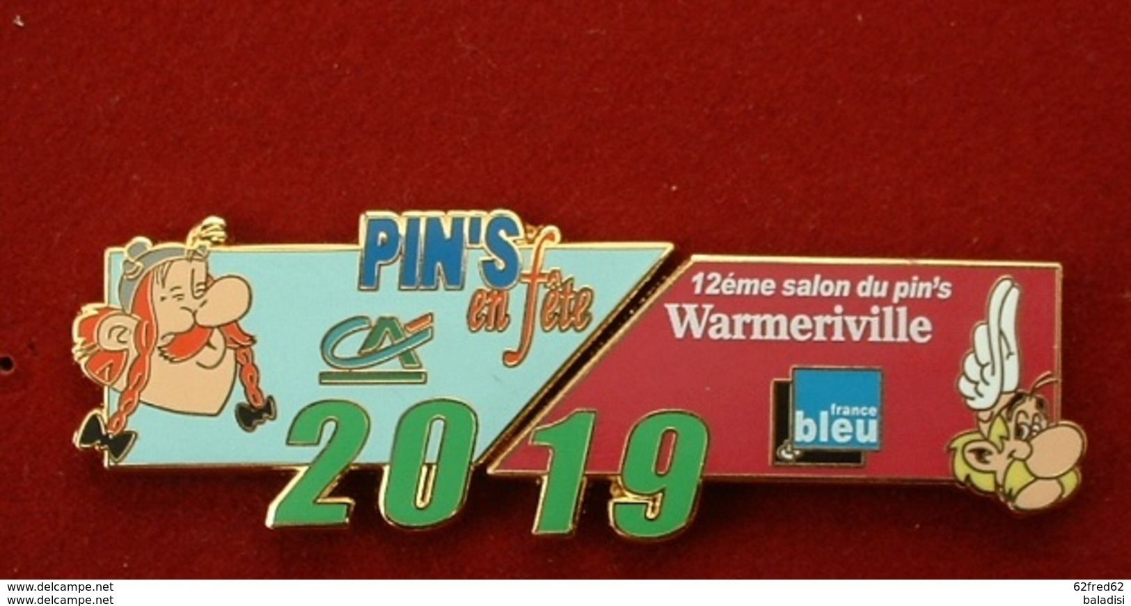 PUZZLE DE 2 PIN'S : 12éme SALON DU PIN'S WARMERIVILLE 2019 - ASTERIX & OBELIX - Comics