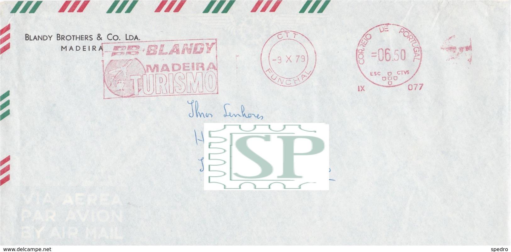 Portugal Franquia Mecânica BB Blandy Turismo Travel Agency Funchal  Meter Freistempel Ema Viagens Turism Avião Plane - Vacaciones & Turismo