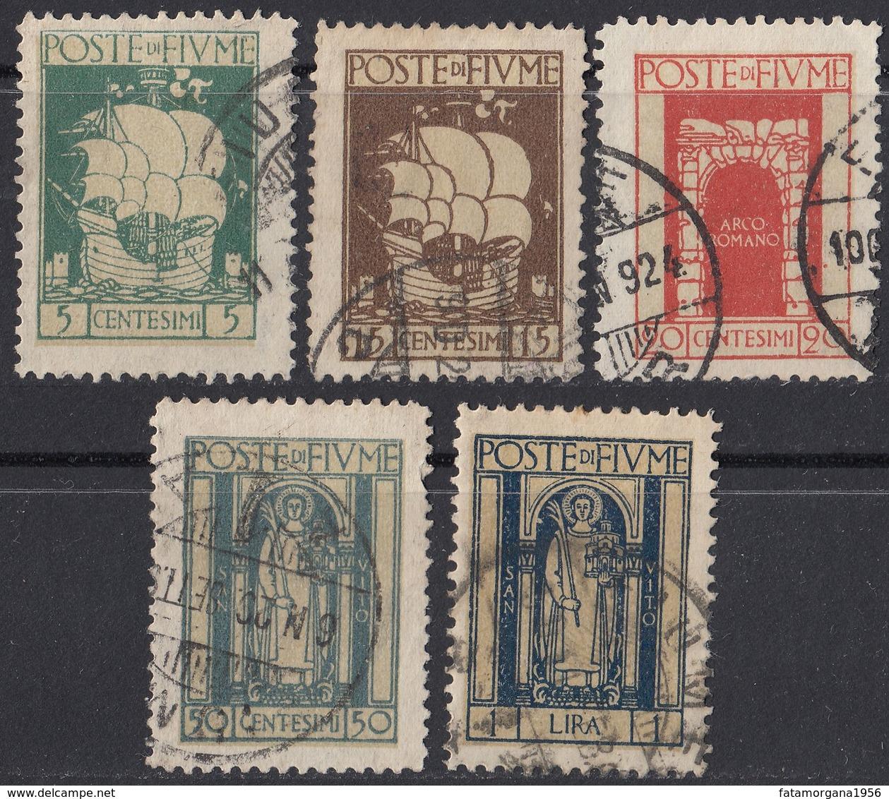 FIUME - 1923 - Lotto Di 5 Valori Usati: Yvert: 170, 172, 173, 176 E 178. - 8. WW I Occupation