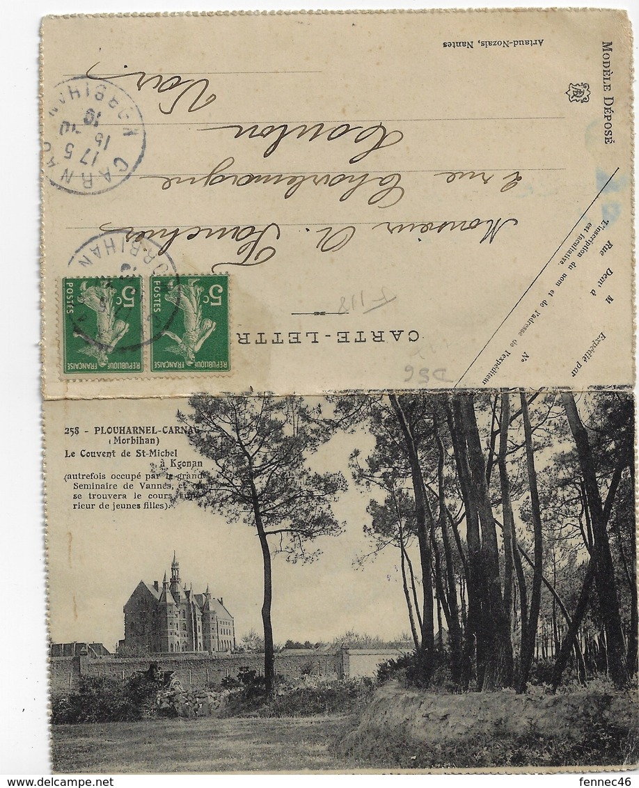 56 (Double Carte) - PLOUHARNEL-CARNAC - Le Couvent De St Michel à Kgonan / Le Superbe Porche De L'Eglise De Carnac(F118) - Carnac