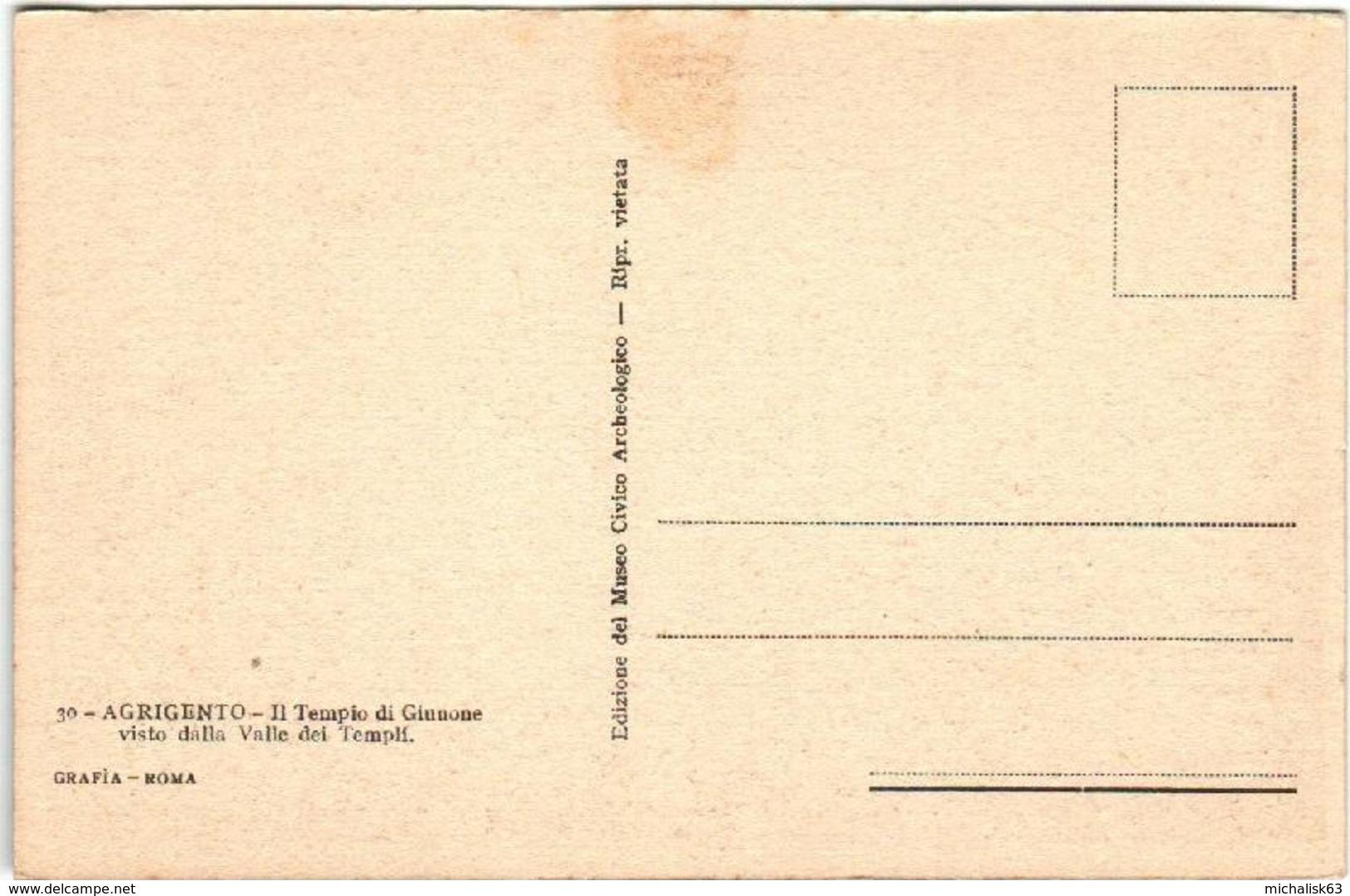61io 336 CPA - AGRIGENTO - IL TEMPIO DI GIUNONE - Agrigento