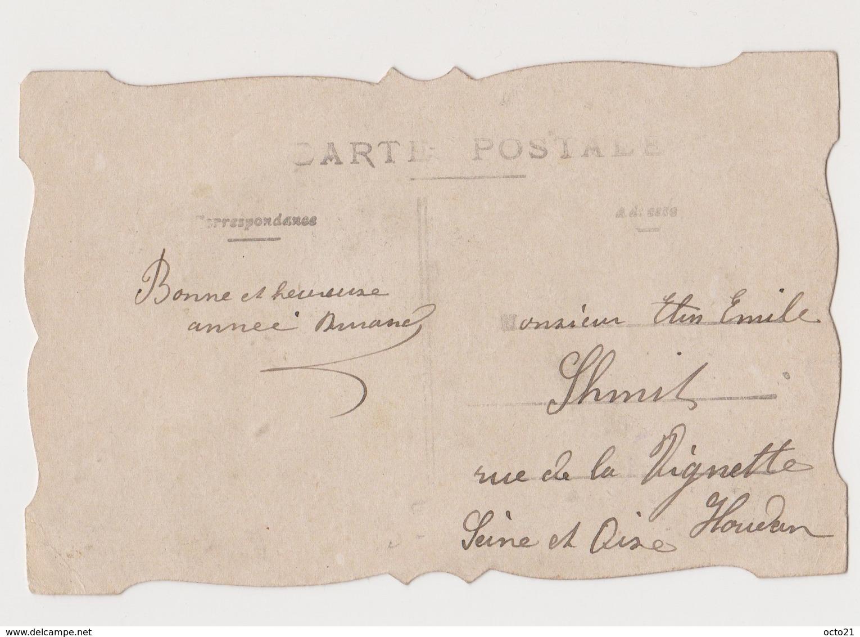 Carte Fantaisie Avec Découpis /  Bonne Année .PIERROT . .Fillette .Roses - Fantaisies