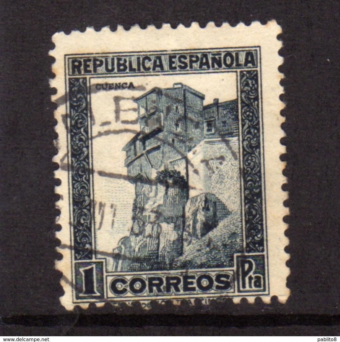 SPAIN ESPAÑA SPAGNA 1932 1938 CLIFF HUSES CUENCA PESETA 1p USATO USED OBLITERE' - 1889-1931 Regno: Alfonso XIII