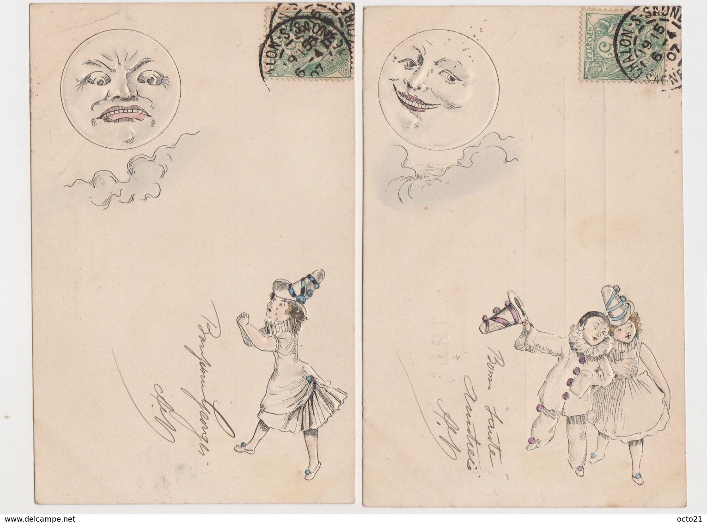 2 Cartes Fantaisie  Gaufrée  / Pierrot , Colombine , Lune - Autres