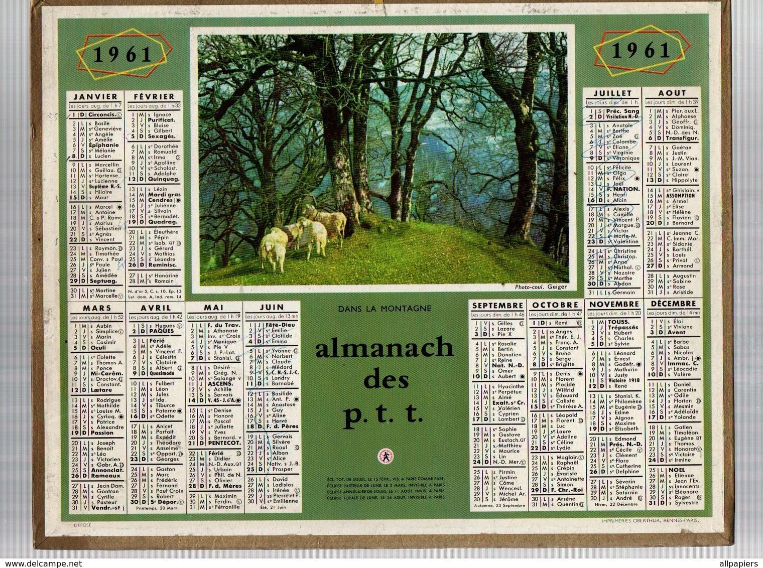 Calendrier Almanach Des P.t.t De 1961 Du Pas De Calais - Petit Format : 1961-70