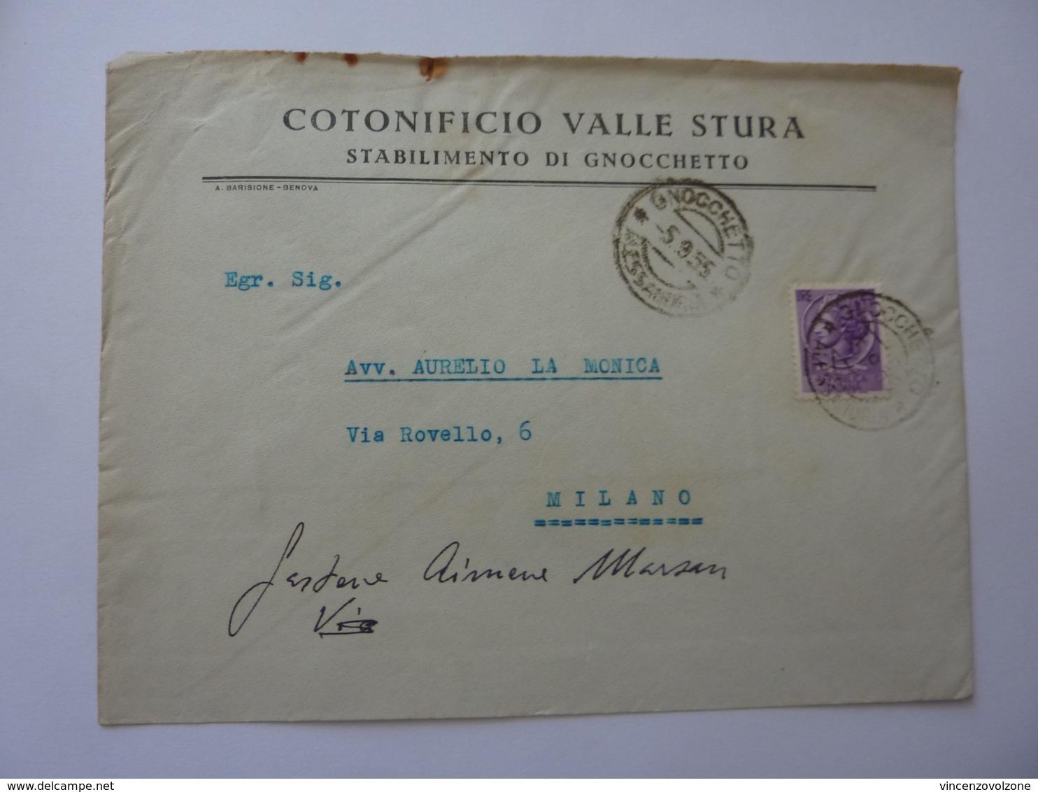 """Busta Viaggiata Pubblicitaria """"COTONIFICIO VALLE STURA - STABILIMENTO DI GNOCCHETTO"""" 1955 - 6. 1946-.. Repubblica"""