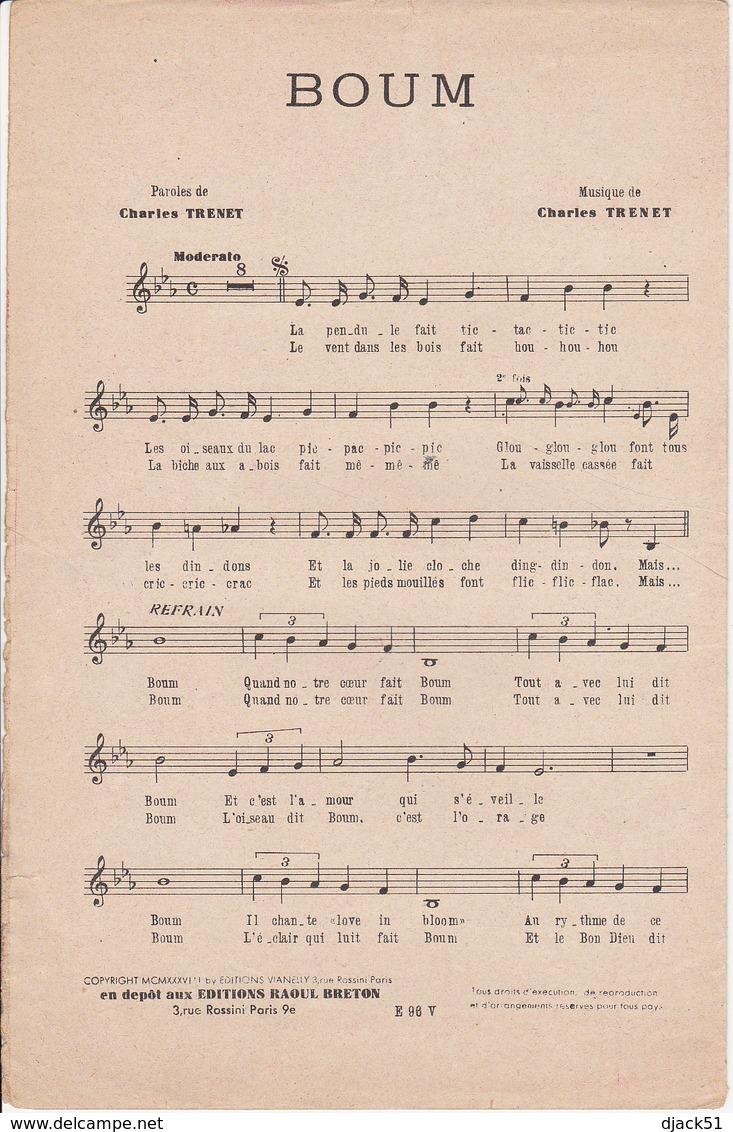 1938 / Partition Musique / BOUM / CHARLES TRENET / Film : La Route Enchantée / Editions Raoul Breton - Musique & Instruments