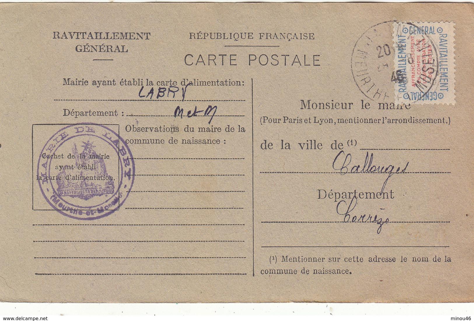 LABRY : CARTE DE RAVITAILLEMENT GENERAL.TIMBREE. NON OBLITEREE.1946.T.B.ETAT.A SAISIR.PETIT PRIX. - Other Municipalities