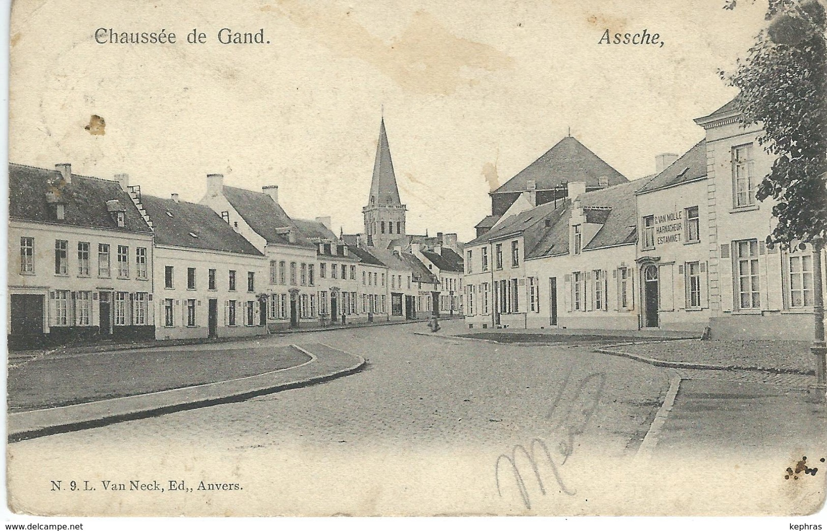 ASSCHE - ASSE : Chaussée De Gand - TRES RARE VARIANTE - Cachet De La Poste 1905 - Asse
