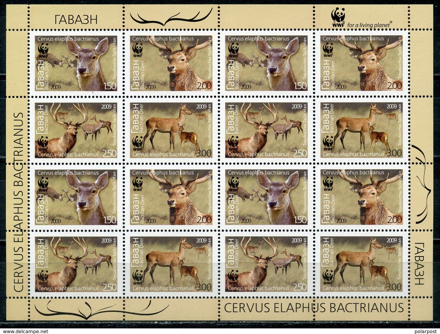 Tajikistan 2009 527-530 WWF. World Nature Protection. Fauna. Deer Cervus Elaphus Bactrianus - Tadschikistan