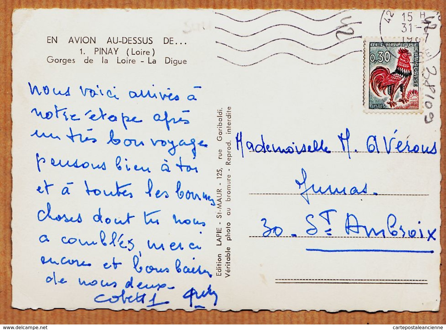 X42061 Peu Commun PINAY En AVION Au Dessus.. Gorges De La LOIRE Digue 1950s Photo-Bromure  LAPIE N°1 - Autres Communes