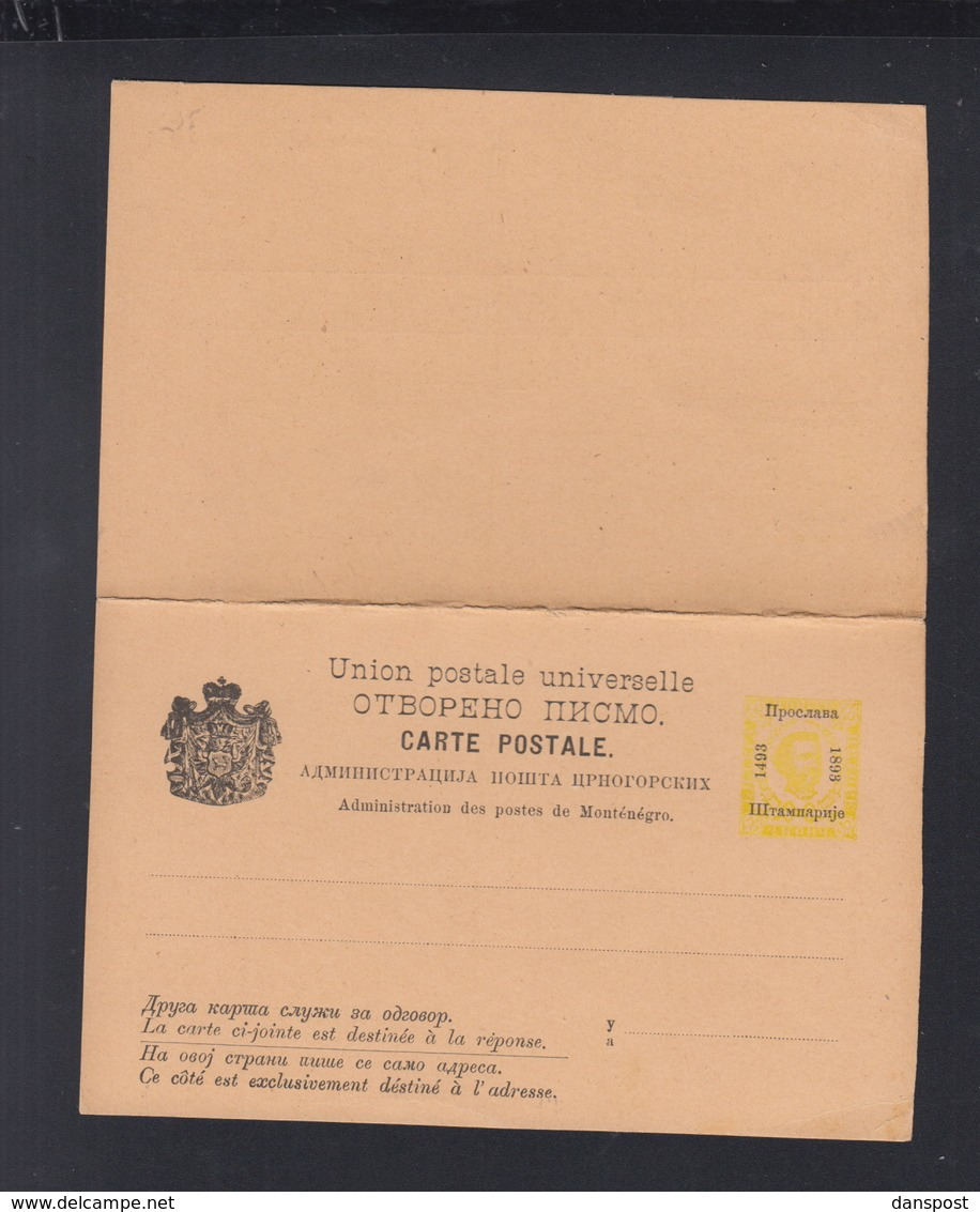 Montenegro Stationery With Reply Unused - Montenegro