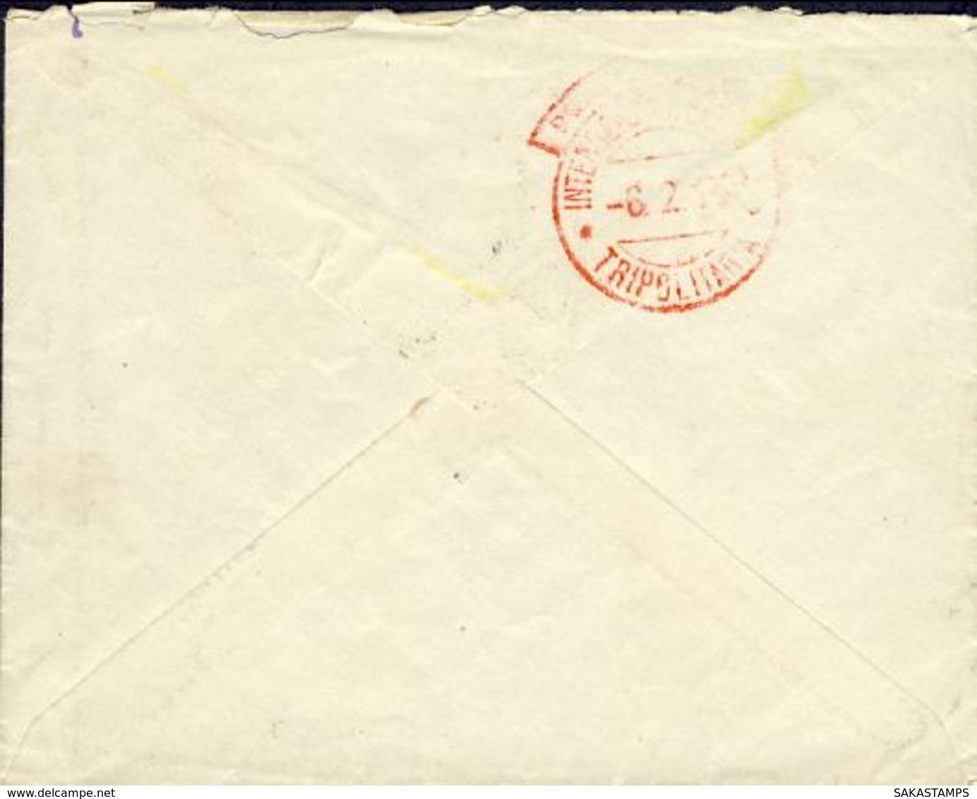 1913-Tripolitania Busta Affr. 5c. Leoni Soprastampato Libia Annullo Di Homs Tripolitania Con Al Verso Timbro Rosso Di Po - Tripolitania