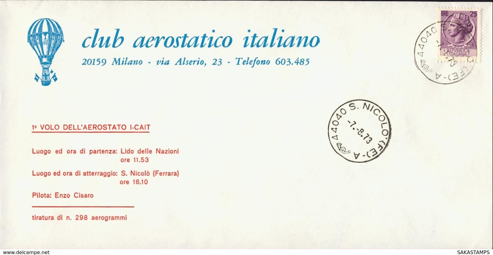 1973-aerogramma I Volo Dell'aerostato I-CAIT Da Lido Delle Nazioni A S.Nicolo' Ferrara - 6. 1946-.. Repubblica