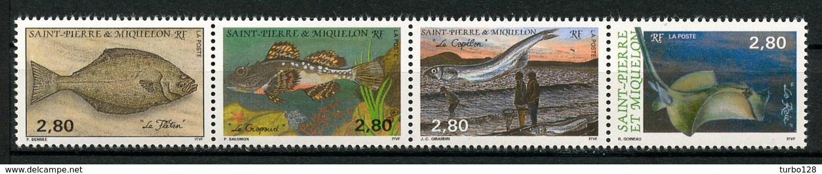 SPM MIQUELON 1993 N° 580/583 ** Neufs MNH Superbes C 6.40 € Faune Poissons Fishes Animaux Crapaud Raie Flétan - St.Pierre Et Miquelon