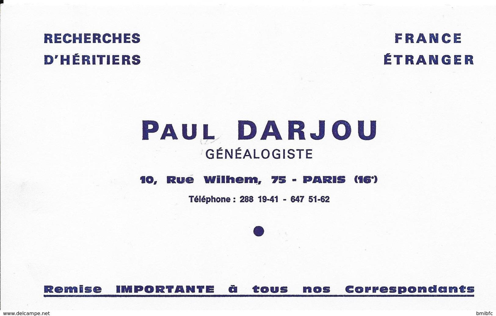 ** Généalogiste PAUL DARJOU 10, Rue De Wilhem, 75 PARIS (16è) Tél 288.19-41 - 647 51.62 - Buvards, Protège-cahiers Illustrés