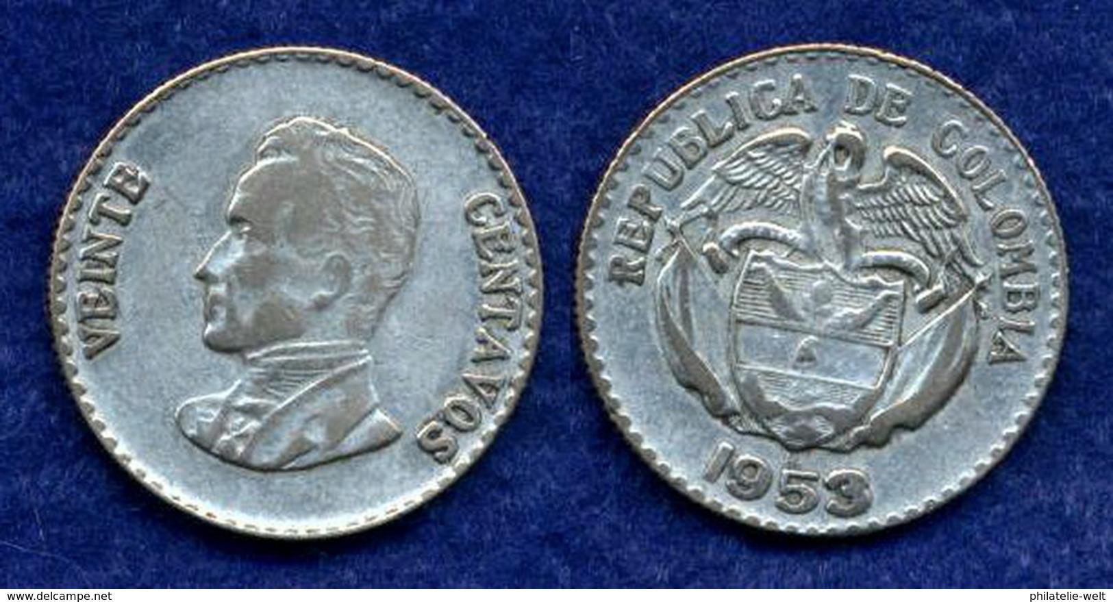 Kolumbien 20 Centavos 1953 Ag300 5g - Kolumbien