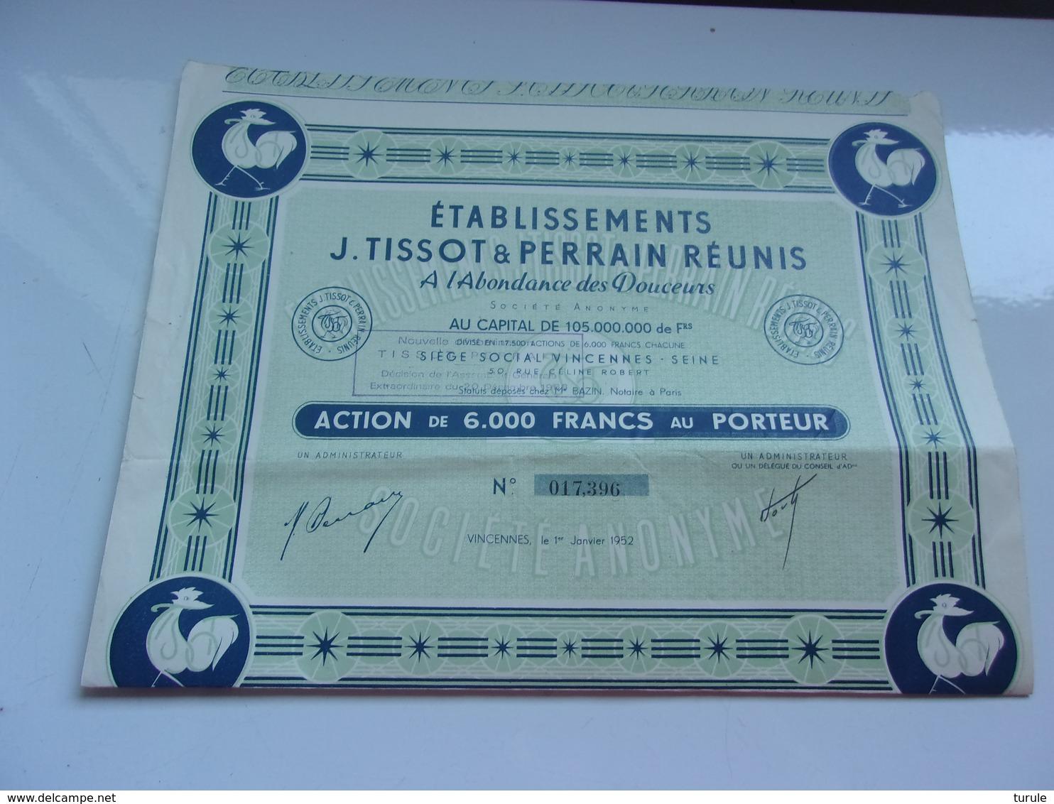TISSOT-PERRAIN A L'abondance Des Douceurs (6000 Francs) VINCENNES - Shareholdings