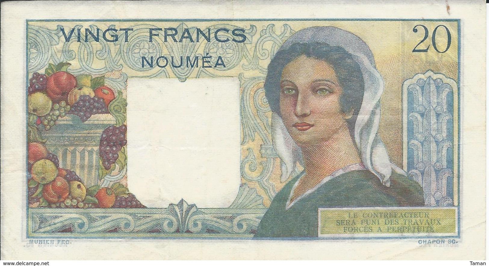 NOUVELLE CALEDONIE   20  Francs   Nd(1963)   -- TTB -- - Banconote