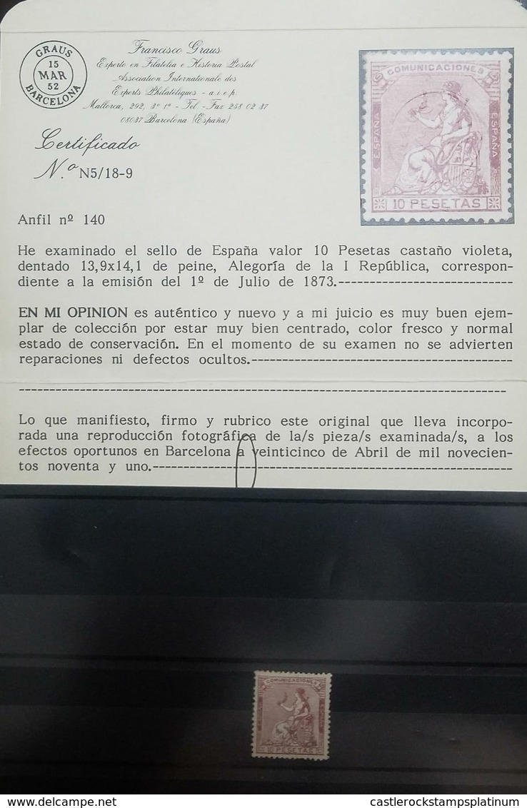 O) 1873 SPAIN, FIRST REPUBLIC -SPAIN- SCT 200 COMUNICACIONES 10p Violet Brown, FRANCISCO GRAUS BARCELONA ANFIL N°140 - - Unused Stamps