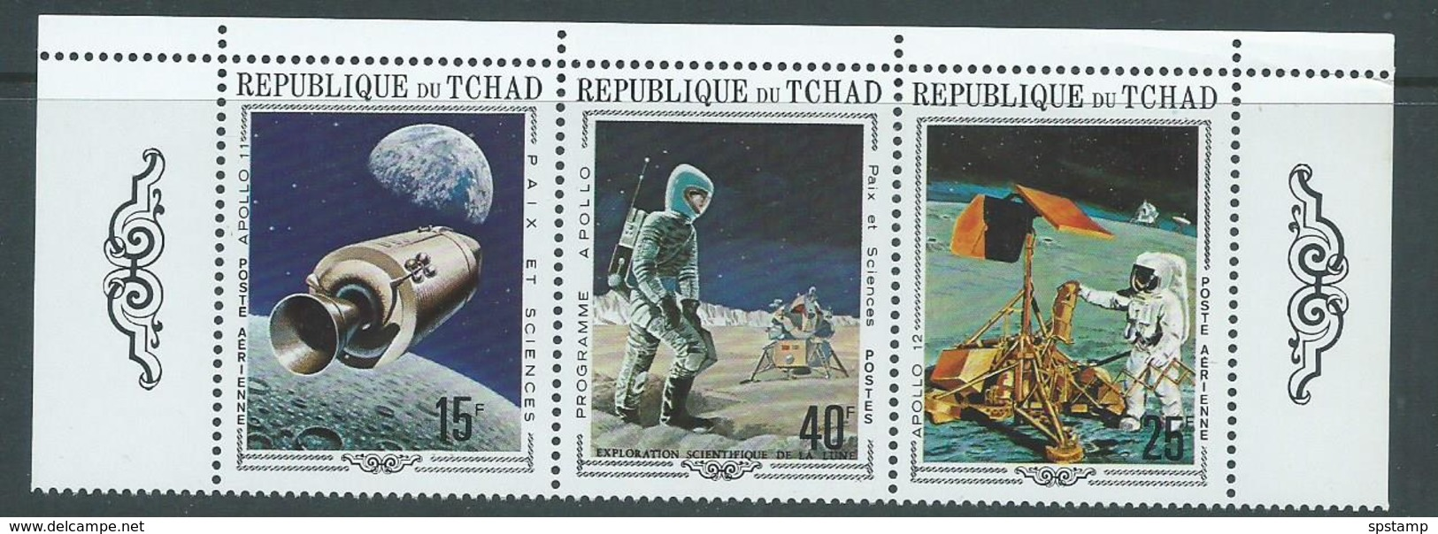 Chad 1970 Apollo 11 & 12 Space Missions Strip Of 3 MNH - Chad (1960-...)